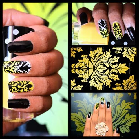 Damask Yellow&Black Nails by Priyanka S
