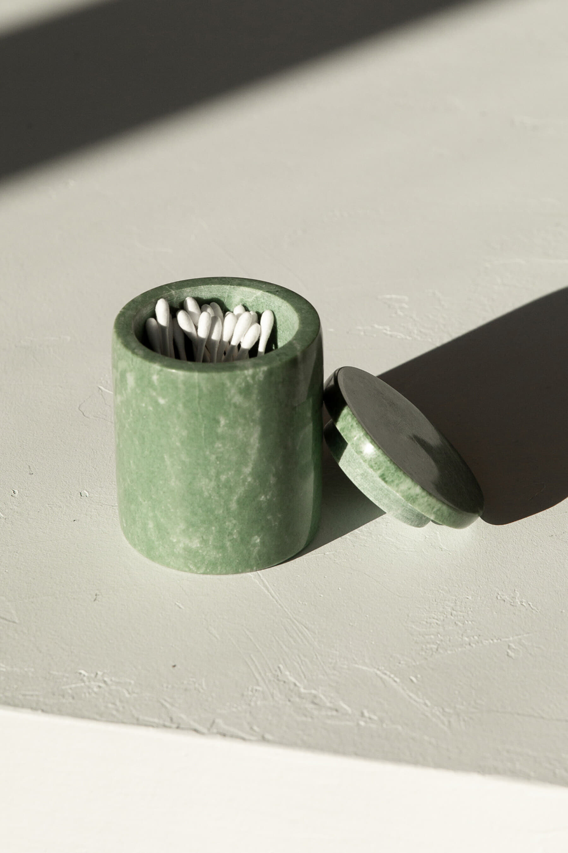 Green Marbled Canister 3128 OAK + FORT Clear vases