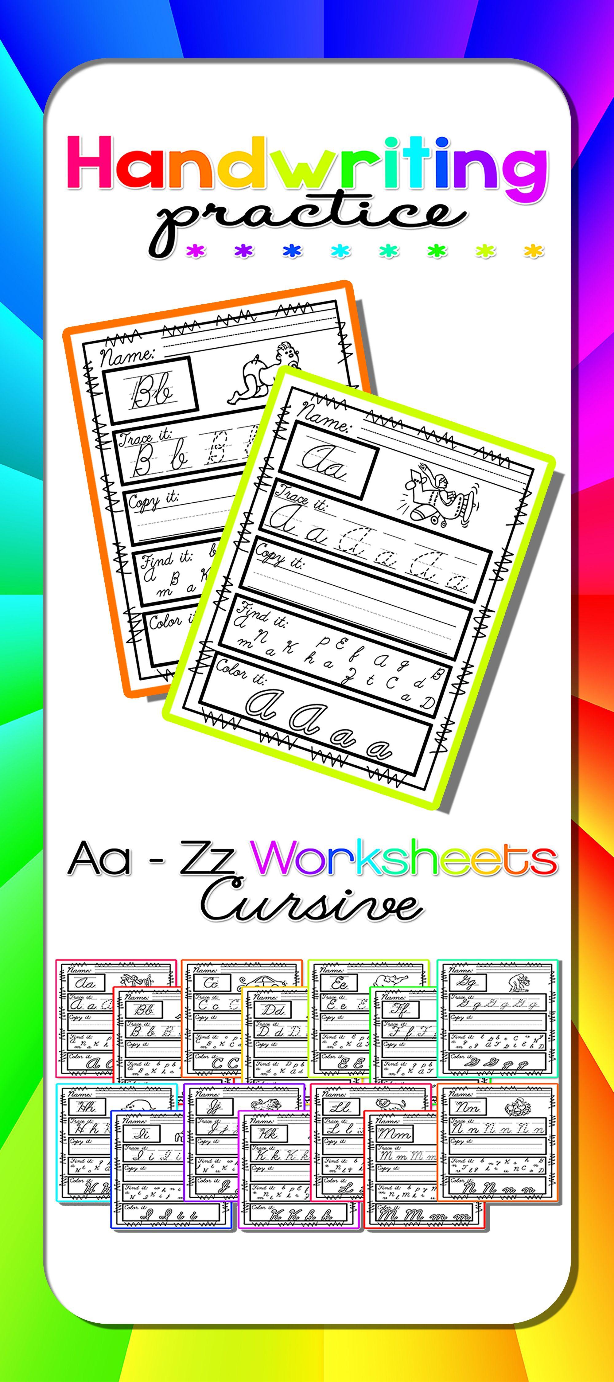 Worksheets For Cursive Handwriting Practice Emma Pinterest