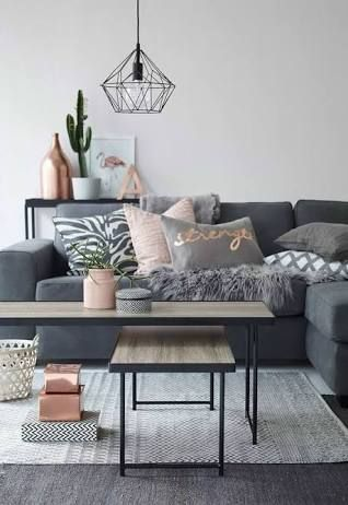 Rose Gold White And Grey Bedroom Living Room Inspiration Home