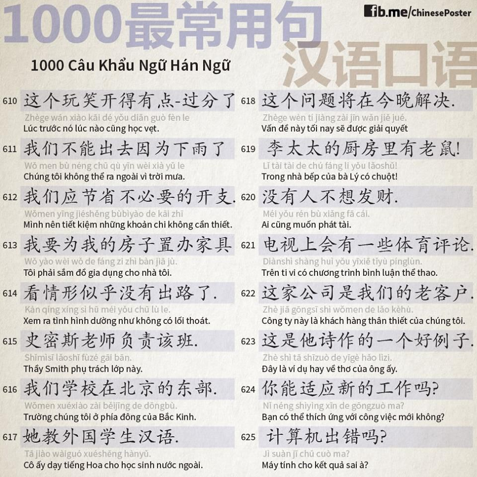 1000 Chinese Sentences In Daily Life Part 41