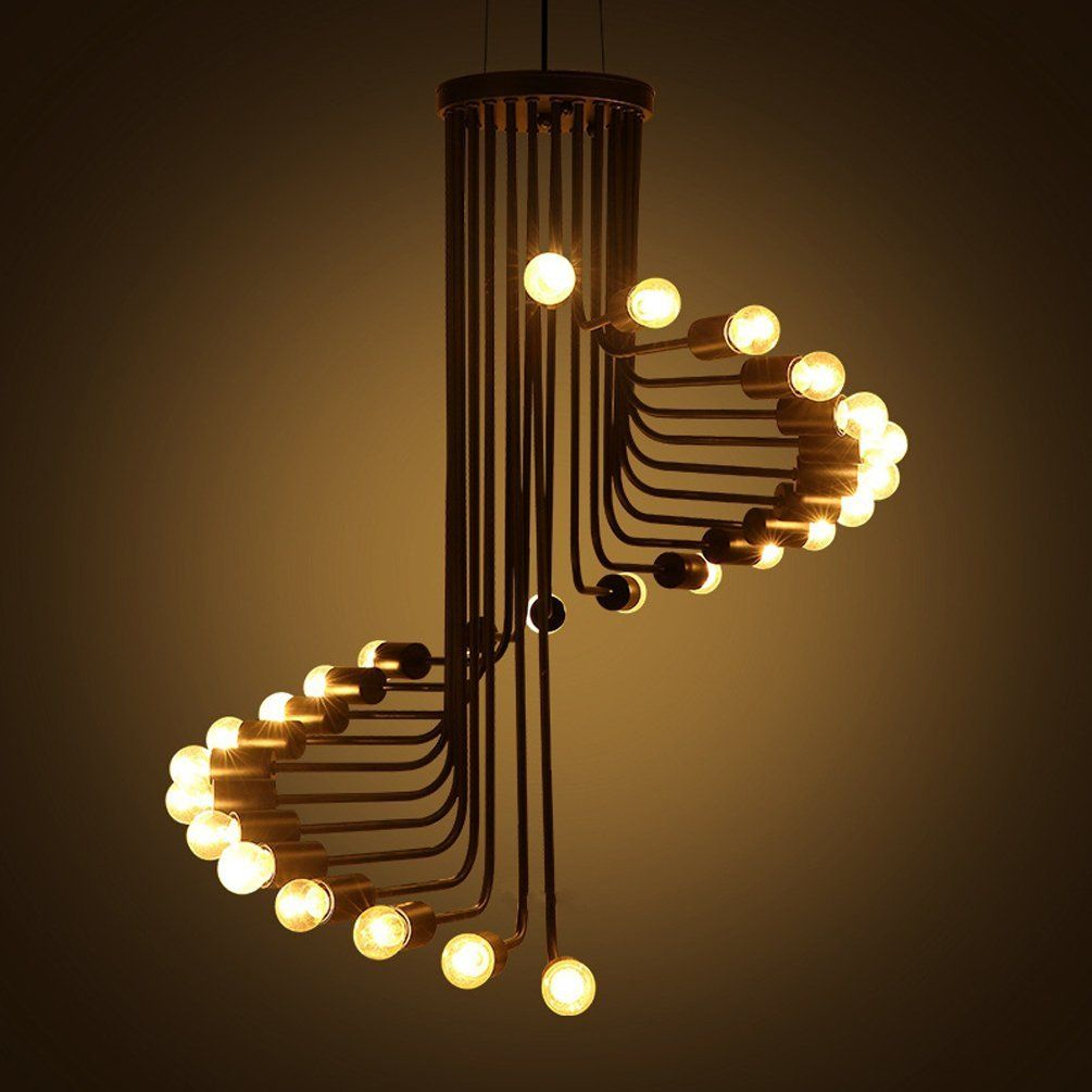 Lampe Lustre Aiwen Lustres Spiral Stairs Style Fer Forgé Ampoules Non Incluses