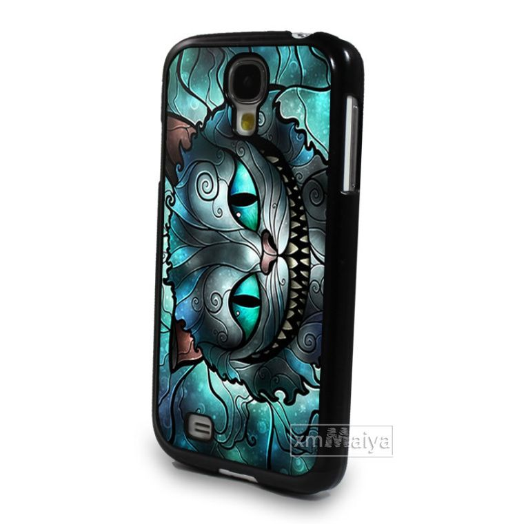 Black Cell Phone Case Cover For Samsung Galaxy S4 S Iv I9500 Tattoo Alice In Wonderland Cat Mobile Pouch Skin Paint Case Case Cover