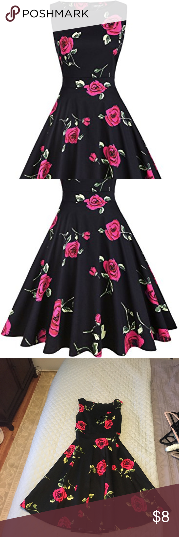 Fit in flare black wred roses tie back dress red roses