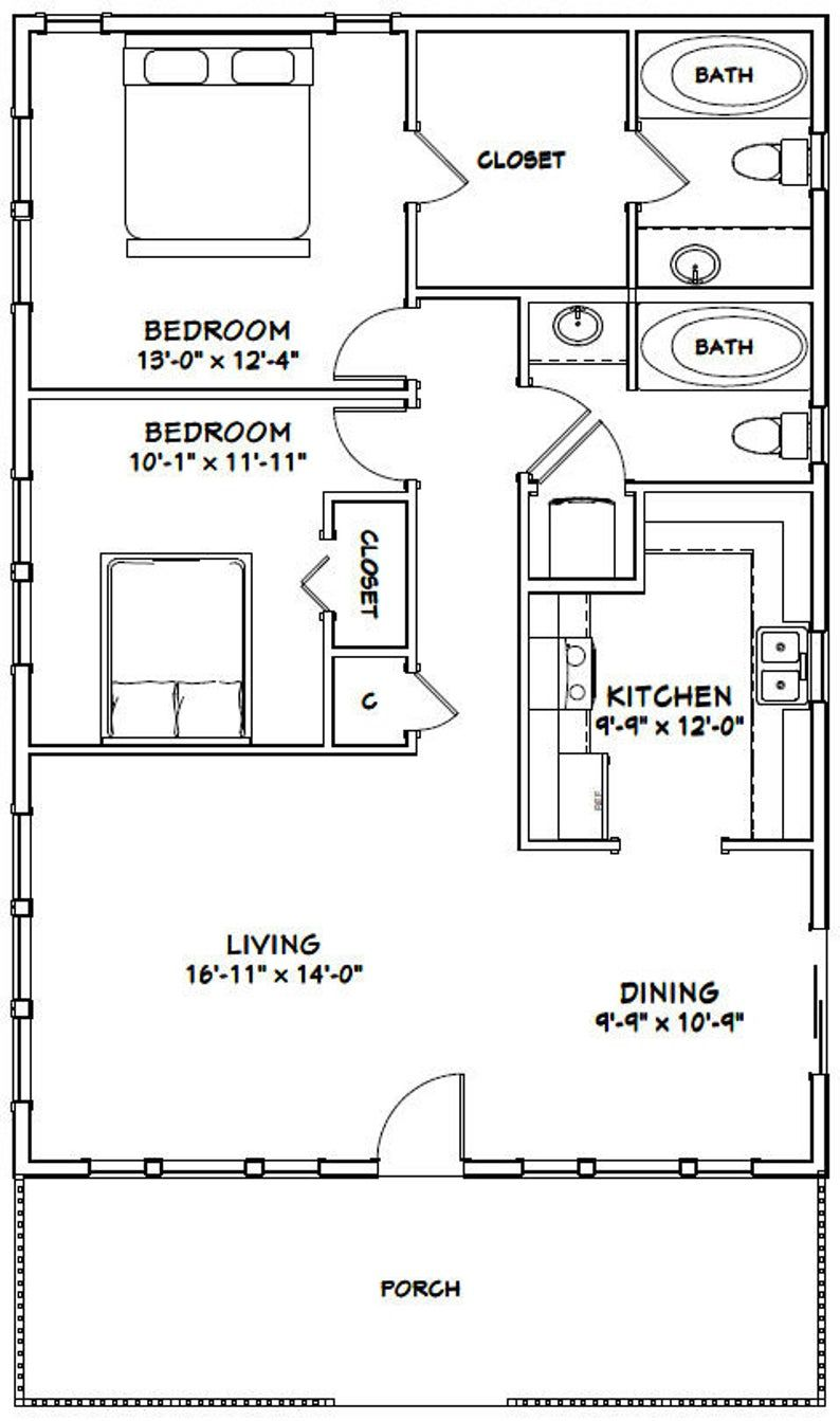 28x40 House 2Bedroom 2Bath 1120 sq ft PDF Floor Etsy