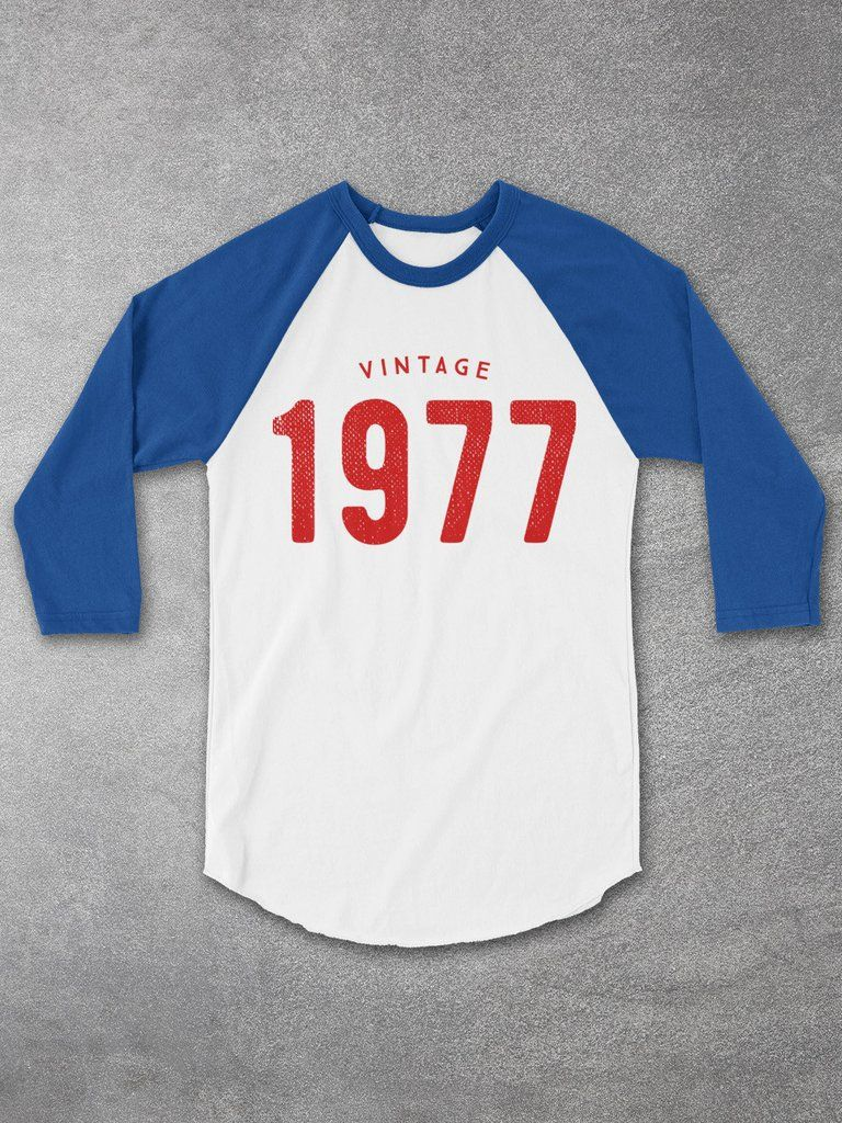 40th Birthday Gift Ideas For Men And Women Vintage 1977 Gray Baseball Tee The Perfect Him Or Her