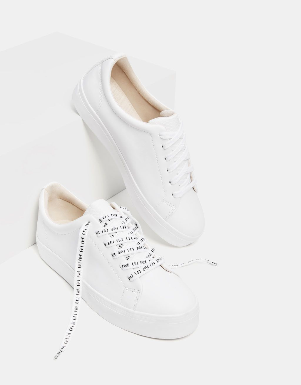 Sneakers with slogan print laces  9d94388c7296e