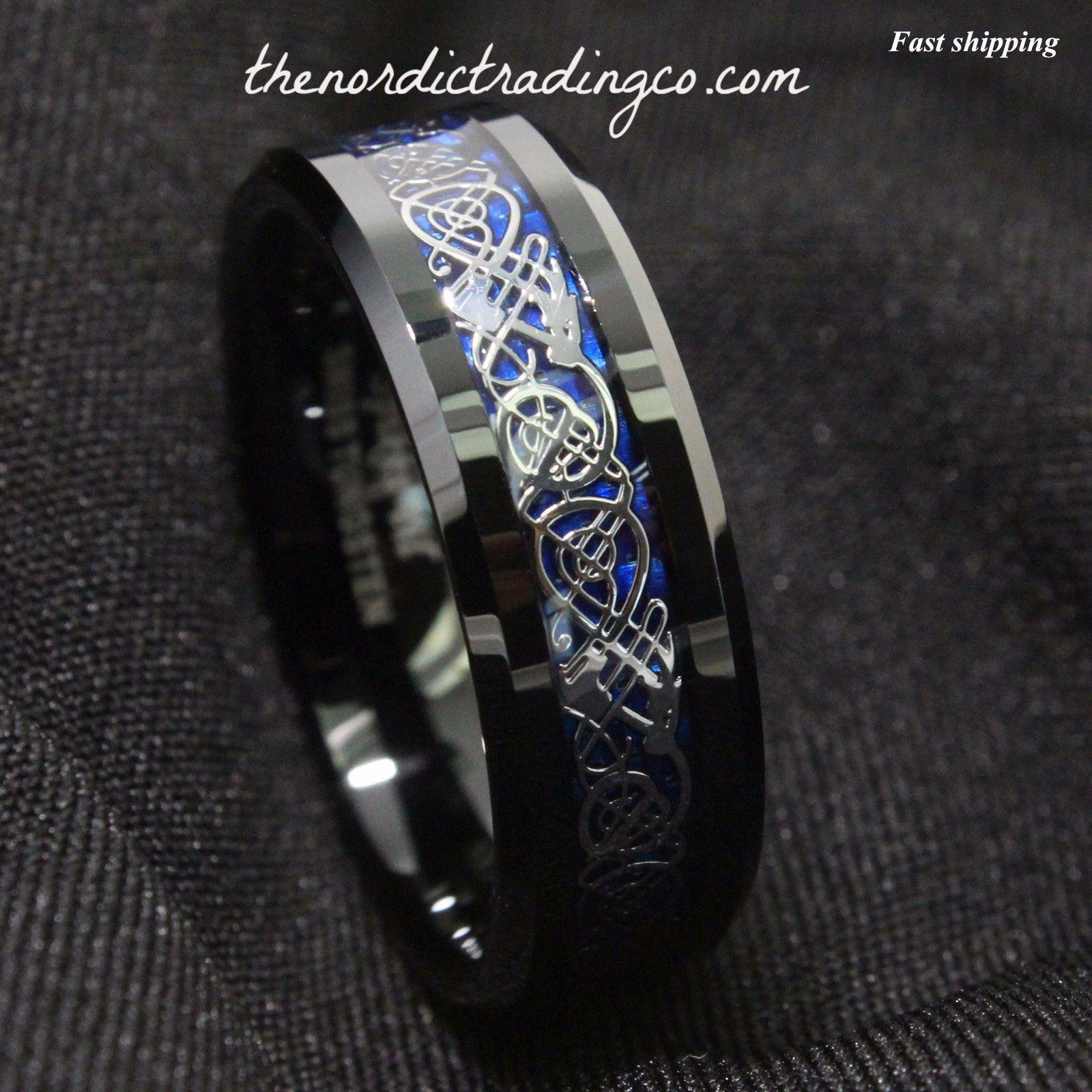 Dramatic Celtic Black Dragon Tungsten Ring Deep Blue Inlay Men s