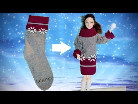 DIY Winter Spezial Sweaterkleid für Barbie aus Socken� Doll Sweater dress with socks