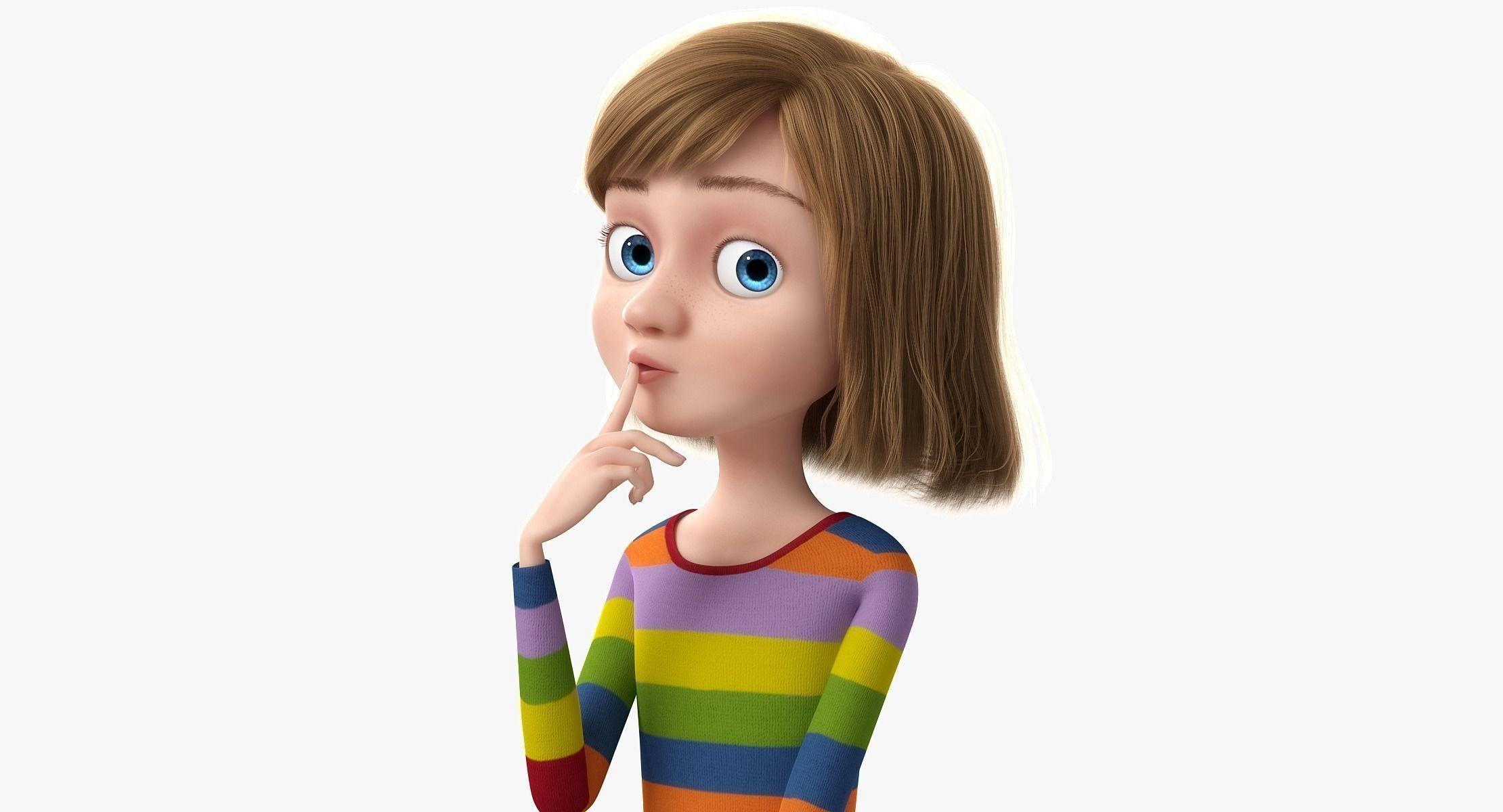 cartoon girl rigged 3d model obj fbx ma mb mtl 1 | Ideas | Girl