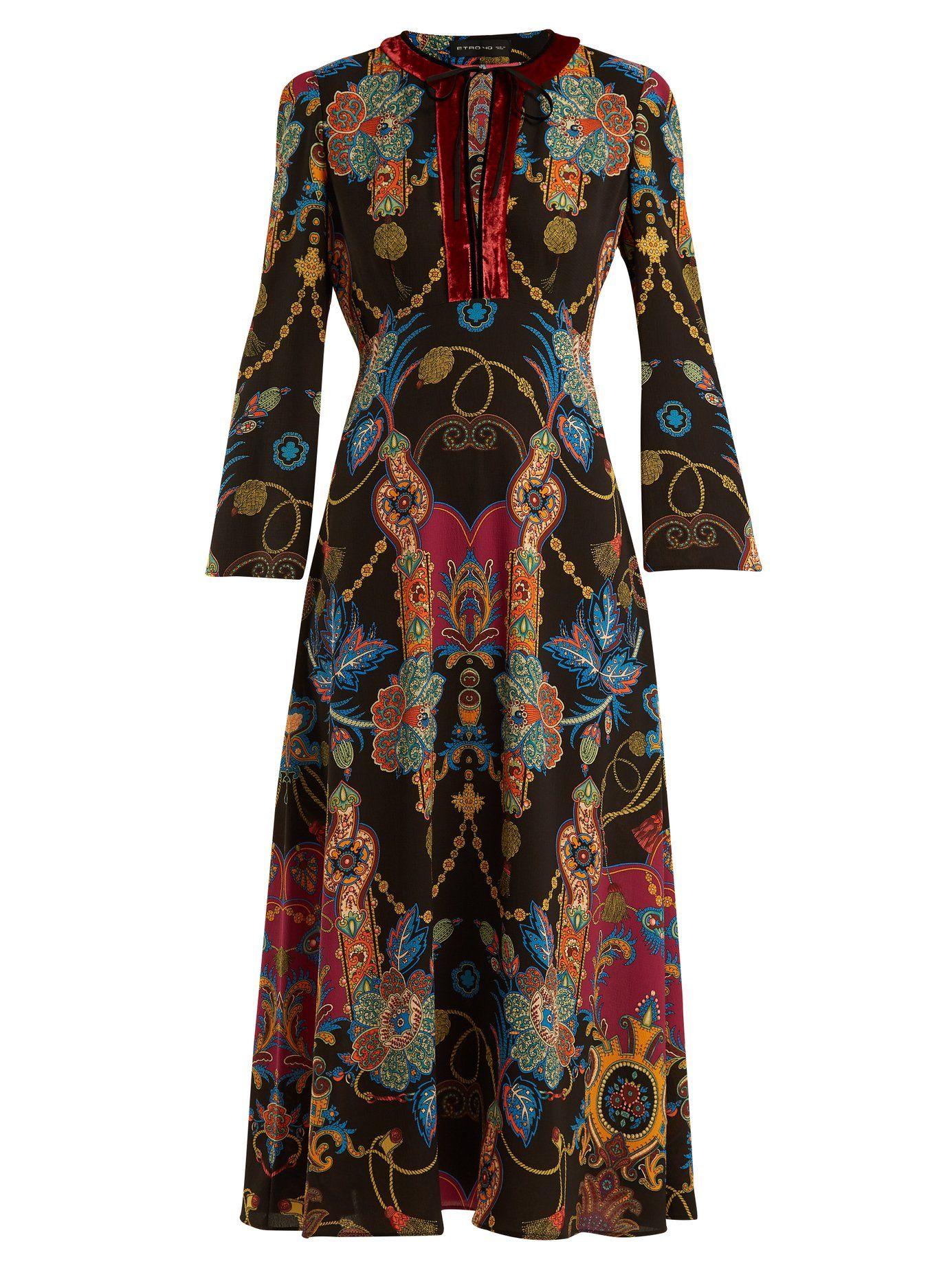 super popular efe58 20ba9 ETRO Rosolite Paisley Print Tie Neck Black Dress | Girly ...