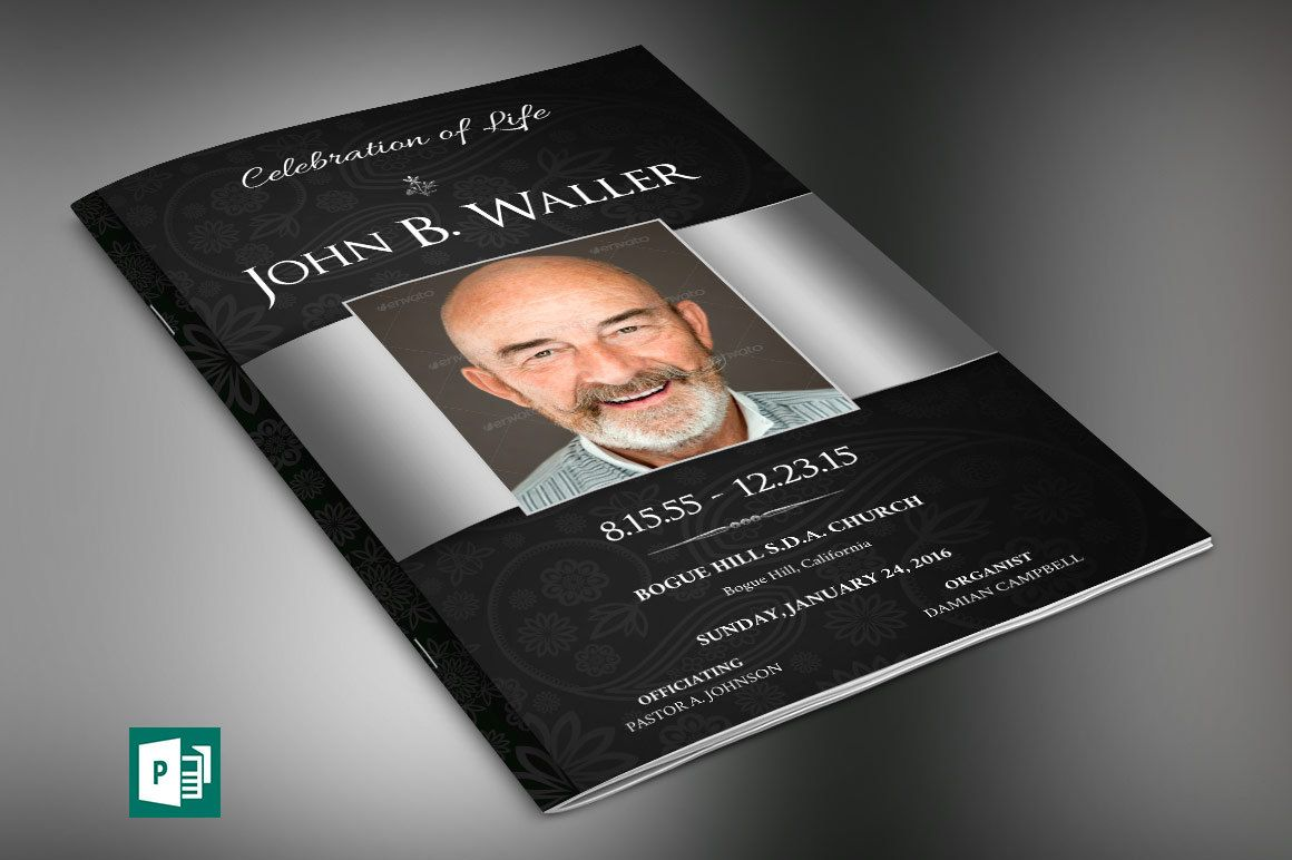 Black Silver Dignity Funeral Program Publisher Template is for a ...