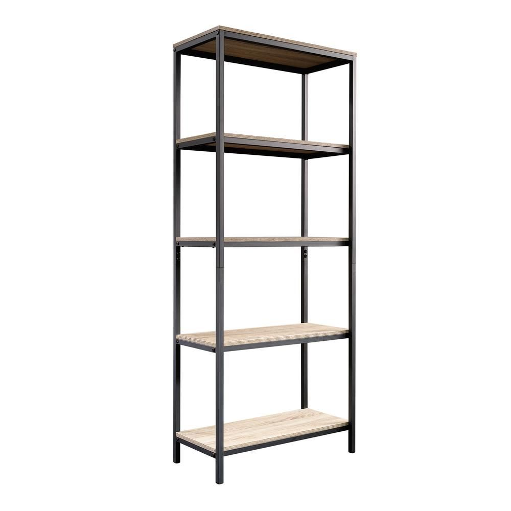 Sauder 56 77 In Oak Black Metal 5 Shelf Etagere Bookcase With Open Back 420277 Oak Shelves Tall Bookcases Bookcase