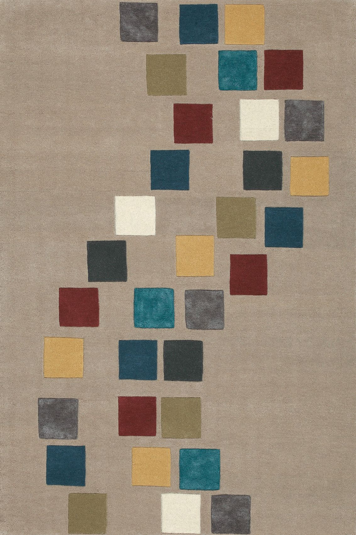Tarooo Collection Retro Style Multi Coloured Squares Trace A Path In This Rug That Is