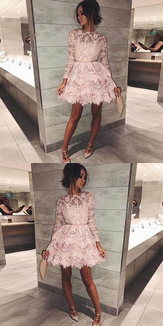 pink short homecoming dresses, long sleeves lace short prom dresses, lace tiered short homecoming dress with sleeves #lacehomecomingdresses