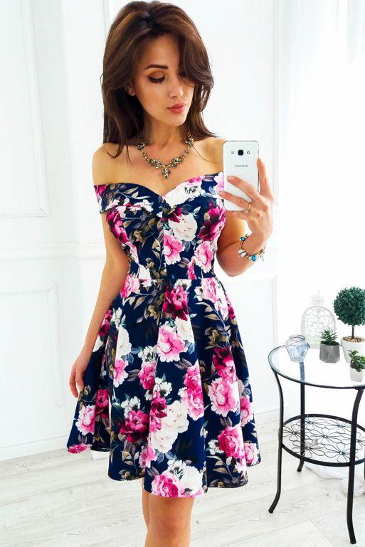 Granatowa Sukienka Z Opadajacym Kolnierzem W Kwiaty Dresses Summer Dresses Casual Dress