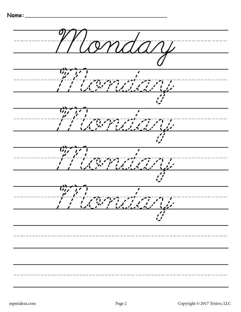 7 Free Days Of The Week Cursive Handwriting Worksheets Cursive Handwriting Worksheets Learn Handwriting Cursive Handwriting