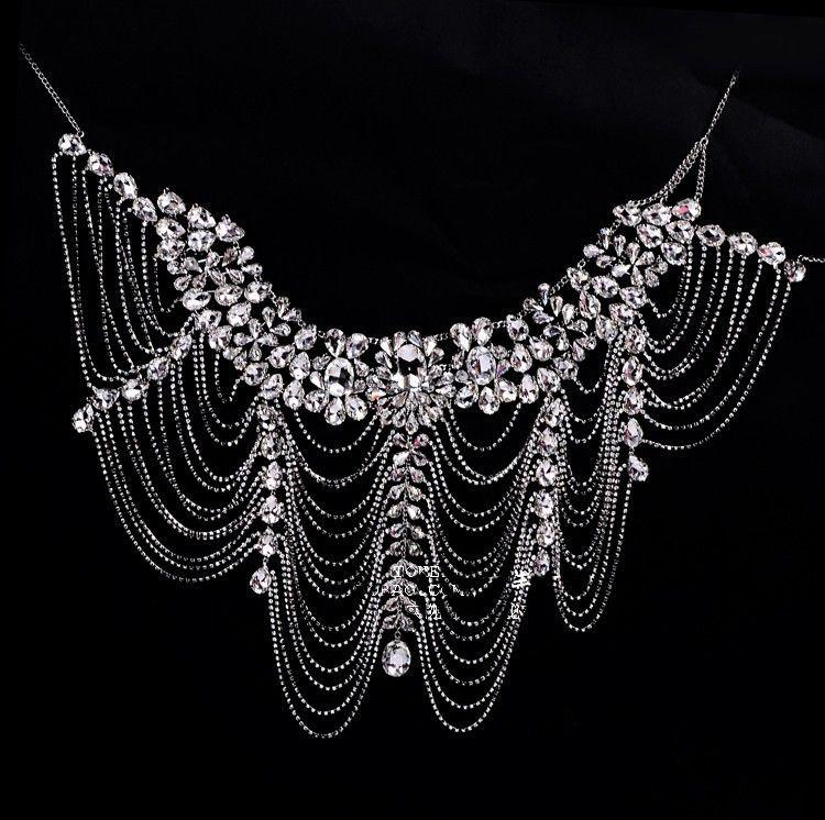 af50ac420 Роскошные горный хрусталь цепь плеча цепь воротник ожерелье для свадьбы  кристалл ожерелье ювелирных изделий купить на AliExpress