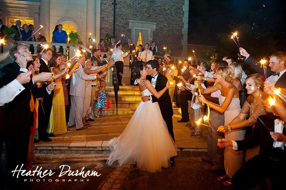 Wedding Departure With Sparklers Fountainview Mansion Auburn Al Heather Durham Photography Alabama Photographer