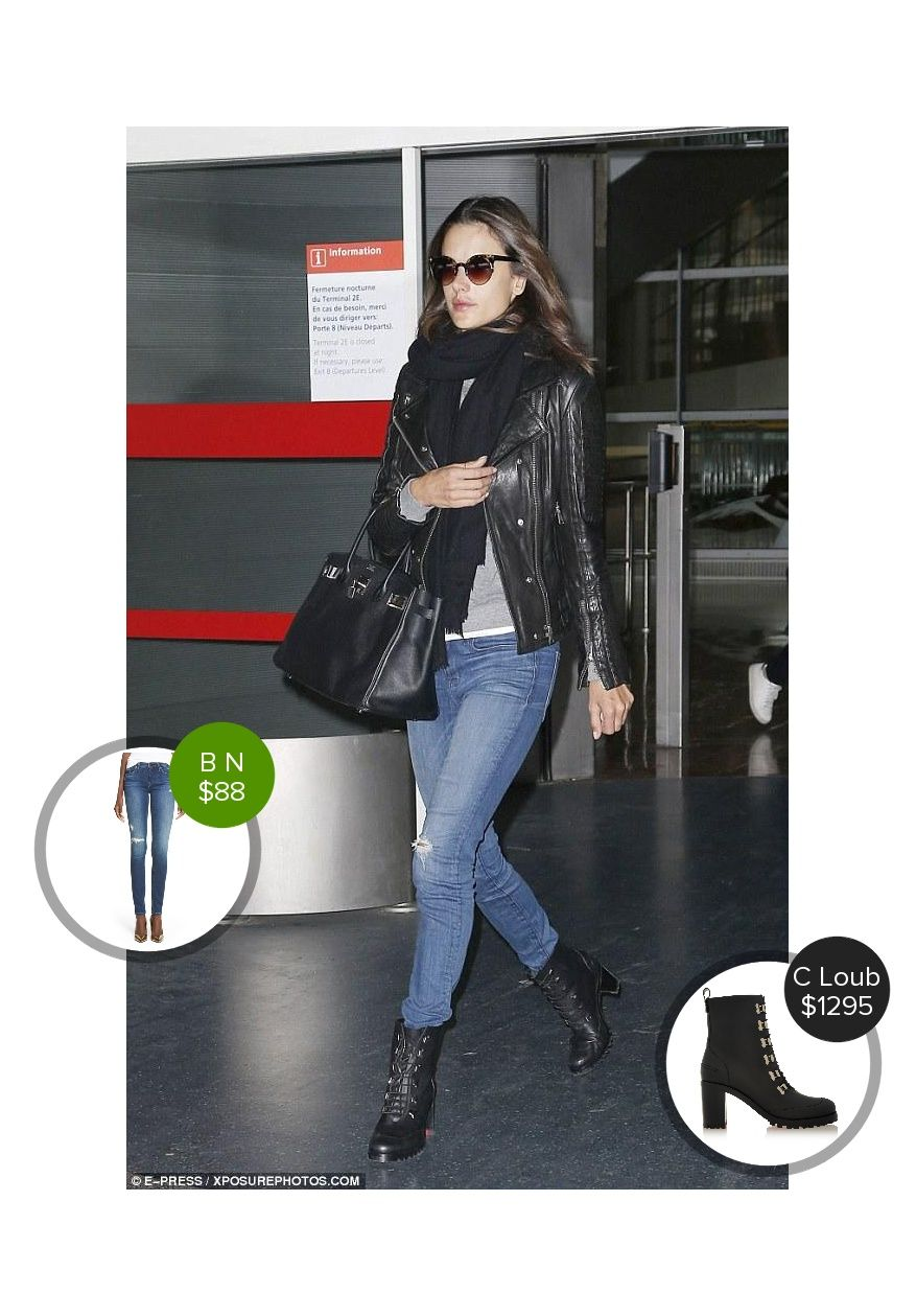 Alessandra Ambrosio at the Charles De Gaulle Airport in Paris - seen in Christian Louboutin and AYR. #christianlouboutin #ayr  #alessandraambrosio @dejamoda