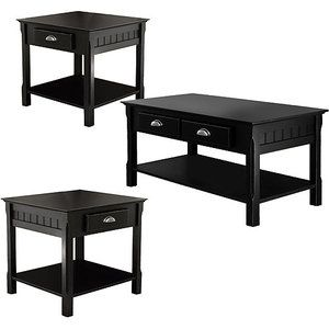 Lovely 3 Piece Timber Accent Table Set, Black. Walmart, $300