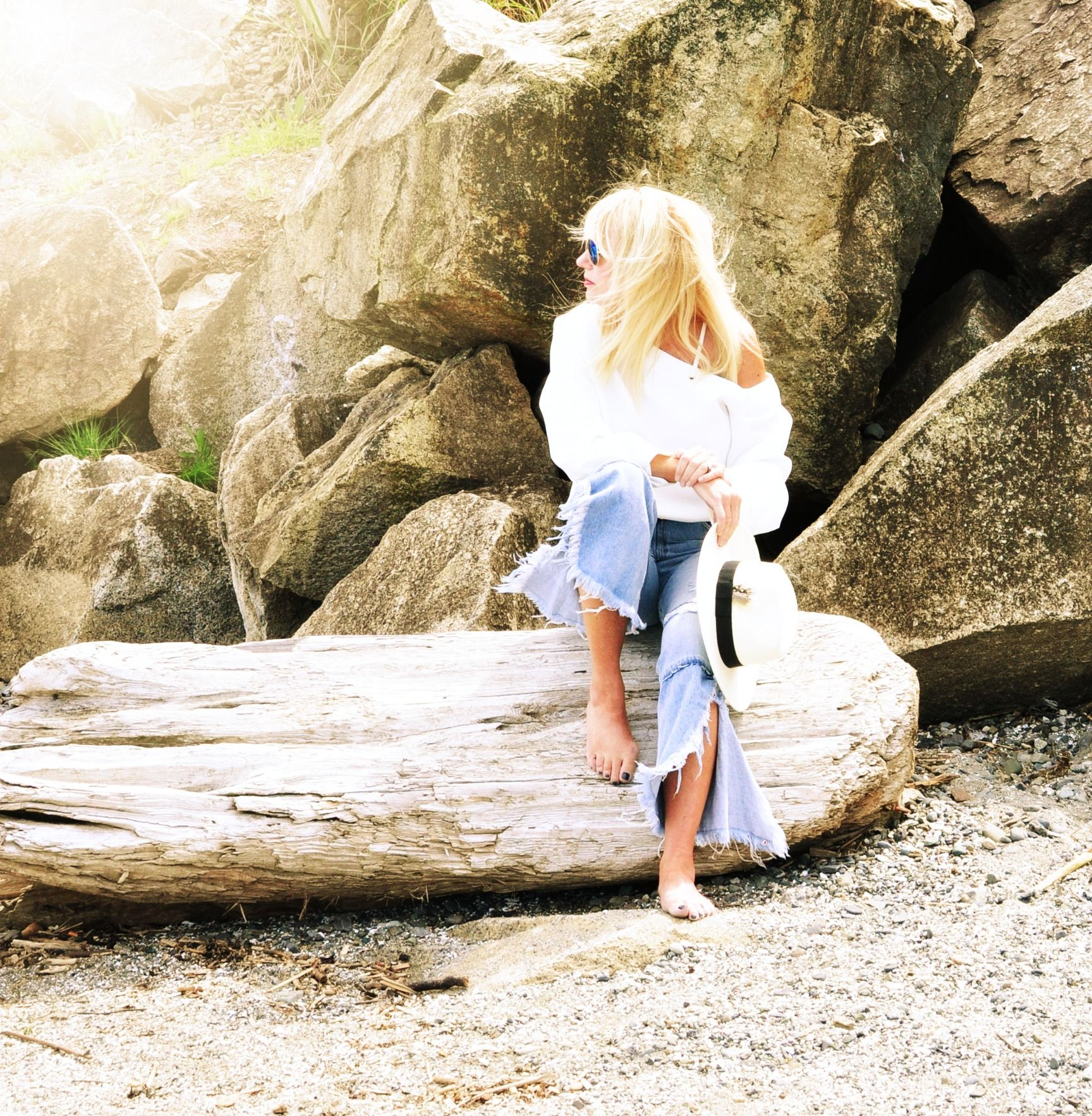 Beach vibes. Zara denim, Nomia white off the shoulder blouse and ...