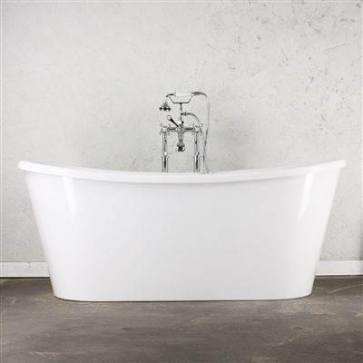 """'VERONA67' 67"""" CoreAcryl WHITE French Bateau acrylic skirted tub with fittings in customer choice of color"""