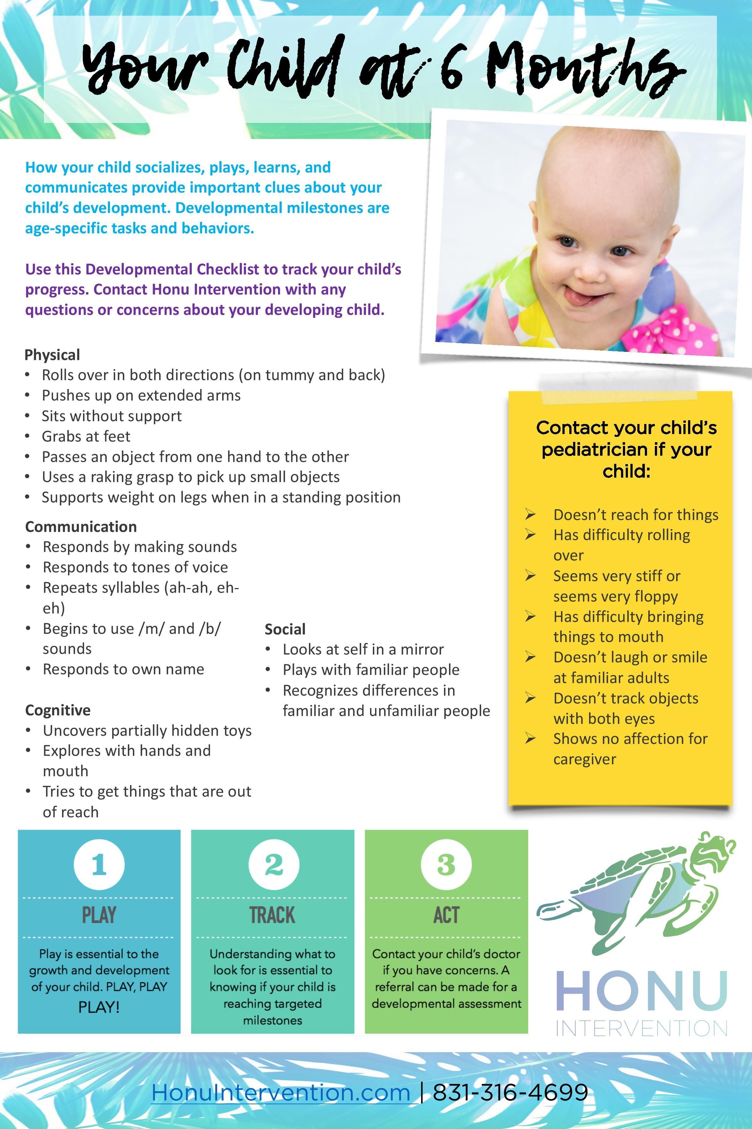 Your Child At 6 Months Developmental Milestones Checklist Developmental Milestones Developmental Milestones Checklist Early Childhood Education Resources