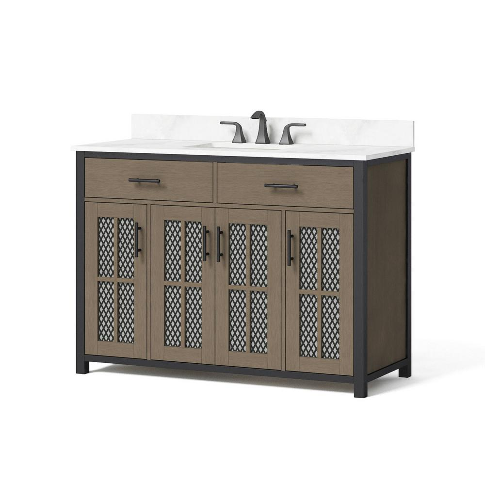 Home Decorators Collection Drysdale 48 In Wx 34 5 In H Bath Vanity In Sable With Engineered Stone Vanity Top In Lgt Vein Carrera With White Basin Hdc48mfv T In 2020 Engineered