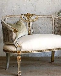Vintage French Style Seafoam Blue & Gilt Cane Settee ...