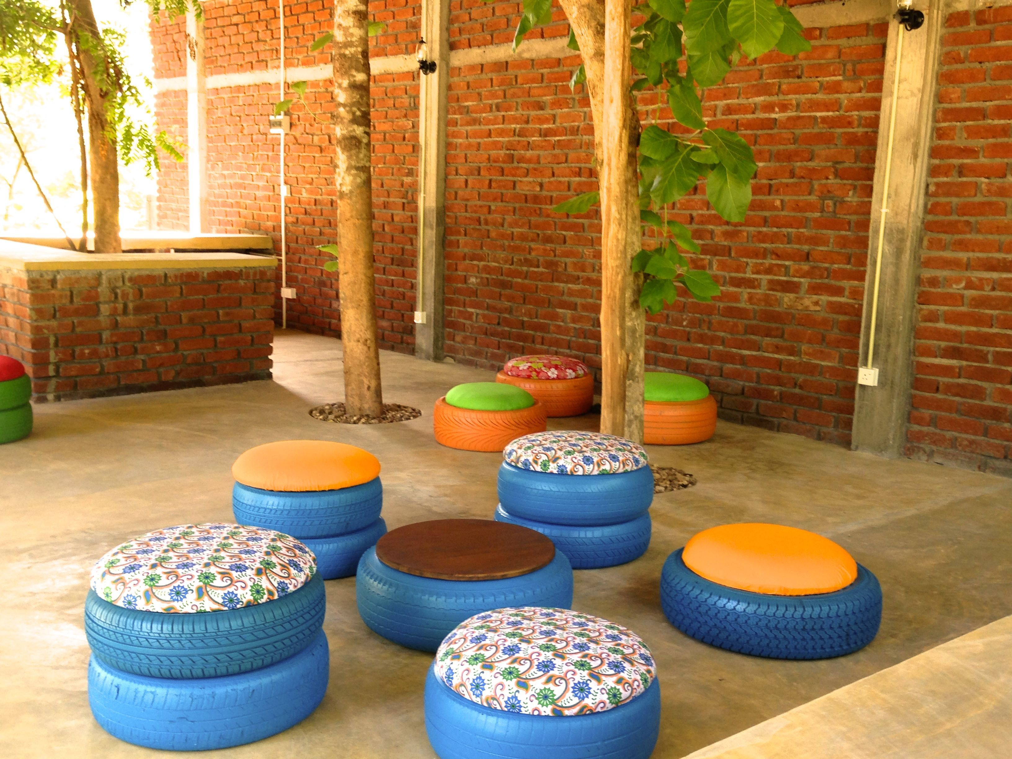 Upcycled Tyre Seats Tire Seats Cafe Interior Design Bar Design Restaurant