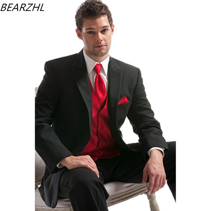 Cheap Wedding Tuxedo Black Groom Suits For Man Formal Wear Dress ...