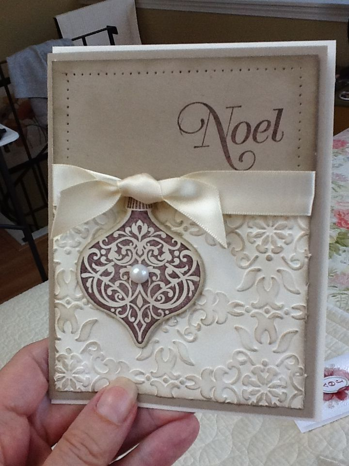 Beautiful handmade christmas card rub ink over an embossed for Elegant homemade christmas cards