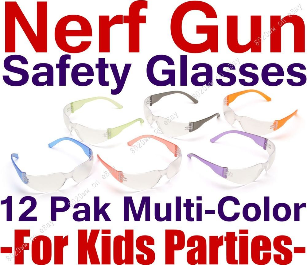 12pak Safety Glasses for Nerf Gun Kids Party - Clear Lens w/Multi ...