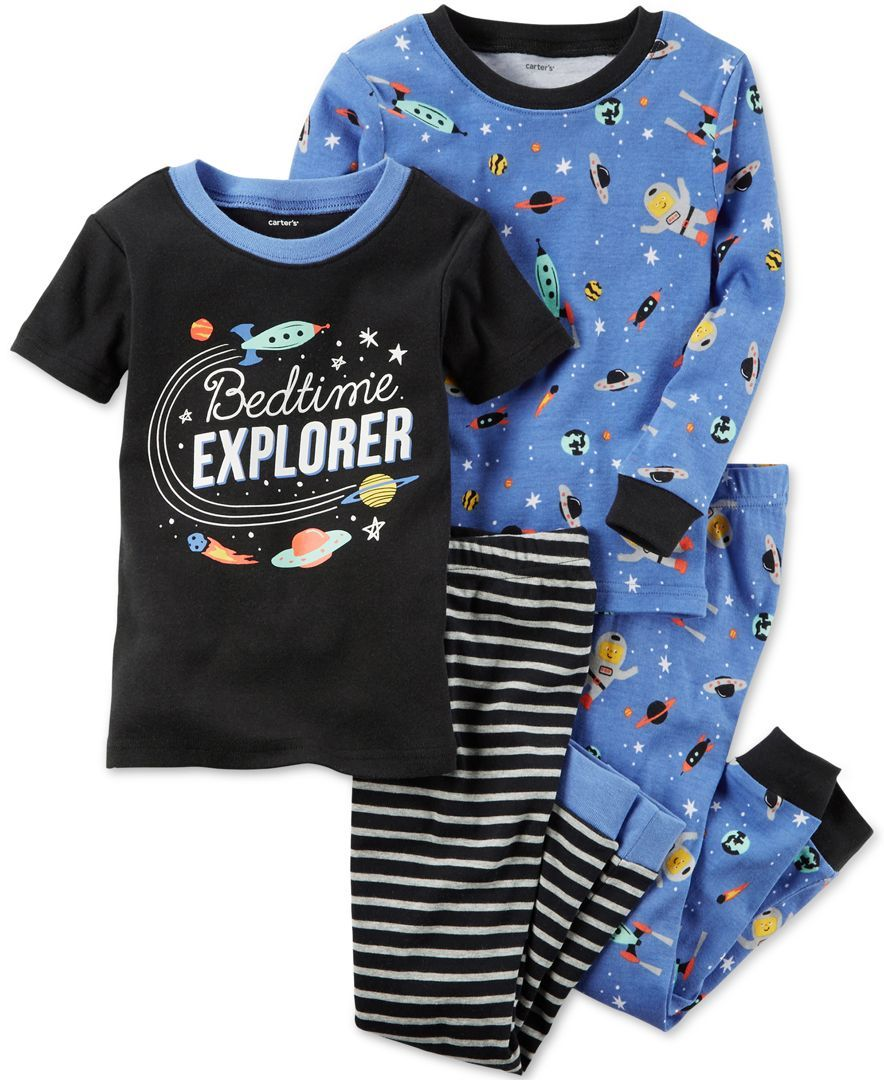 fa54ff8abf10 Carter s 4-Pc. Bedtime Explorer Cotton Pajama Set