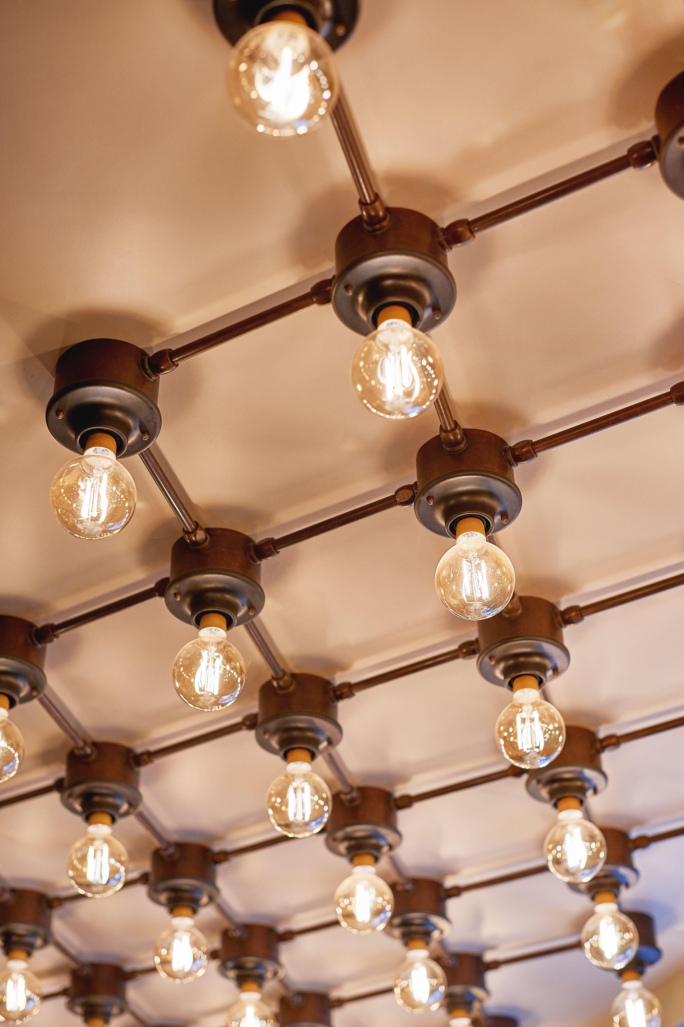 Industrial Ceiling Flush Bulb Light Grid Aged Metallic Bronze