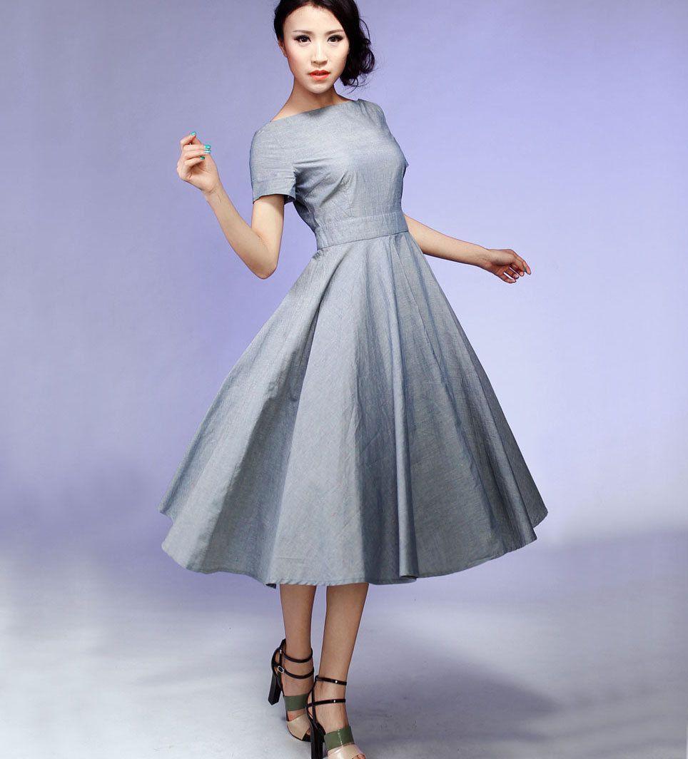 Maxi dress for wedding  Woman maxi dress cotton dress wedding dress in grey by xiaolizi