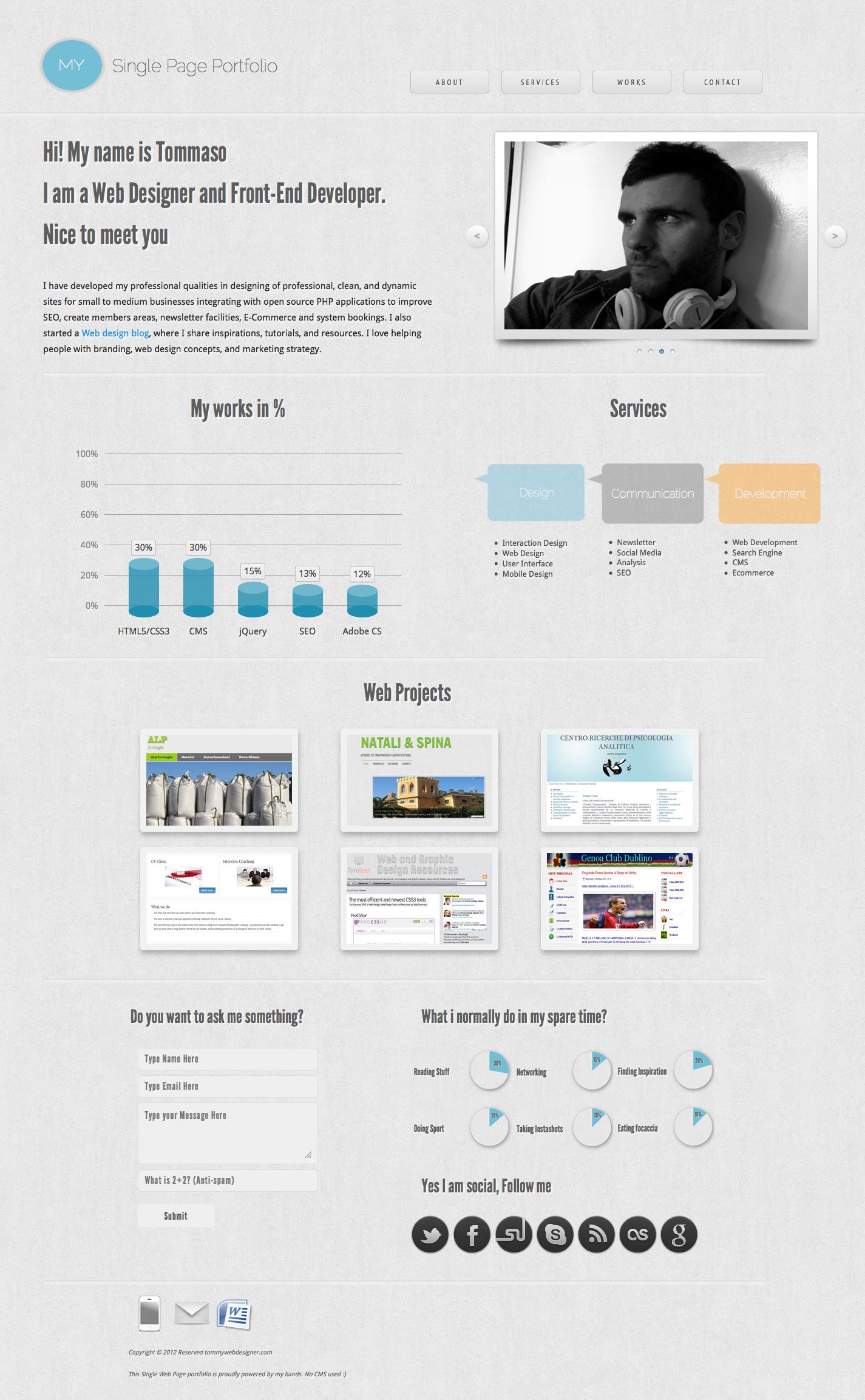 This Is A Single Page Portfolio Web Design Web Design Inspiration Portfolio Design
