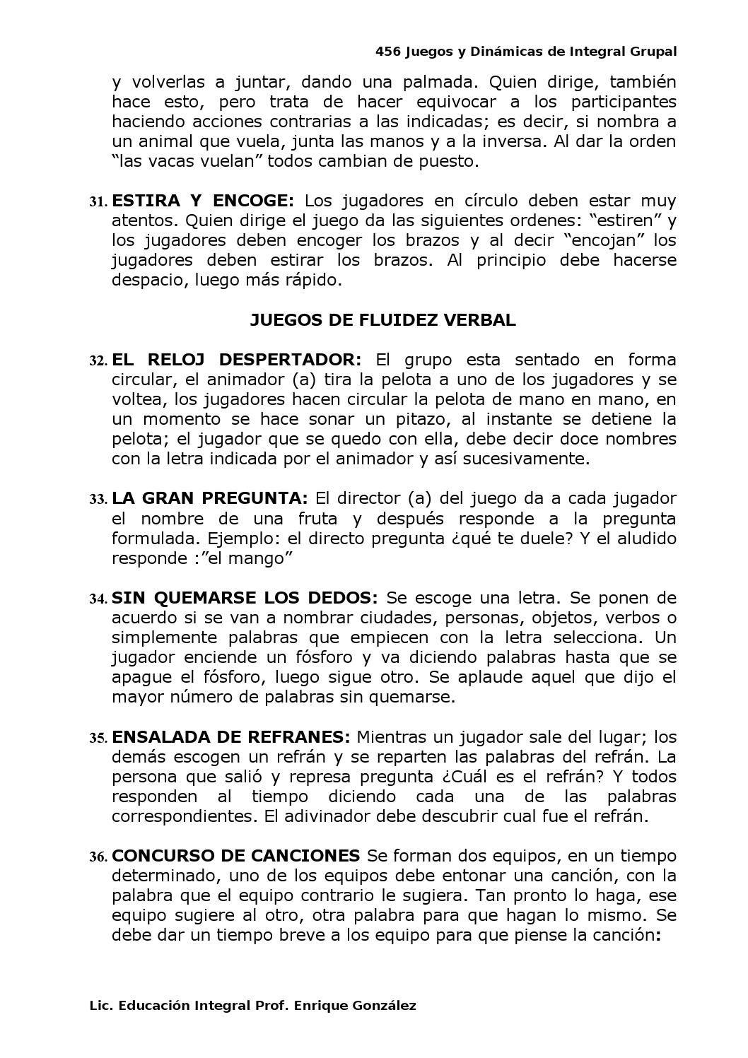 Recopilación 456 Juegos Y Dinamicas De Integracion Grupal Prof Enrique González Integracion Dinamica De Integracion Educacion Integral