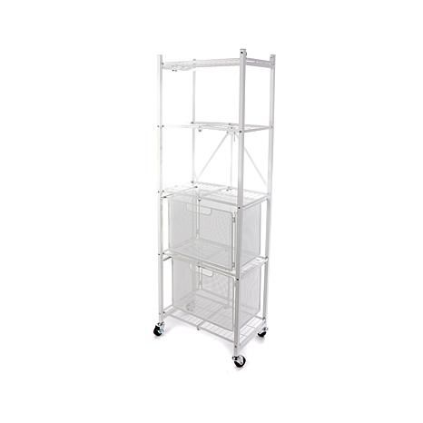 Origami Steel Folding 2 Drawer Pantry Rack With Wheels 8271940