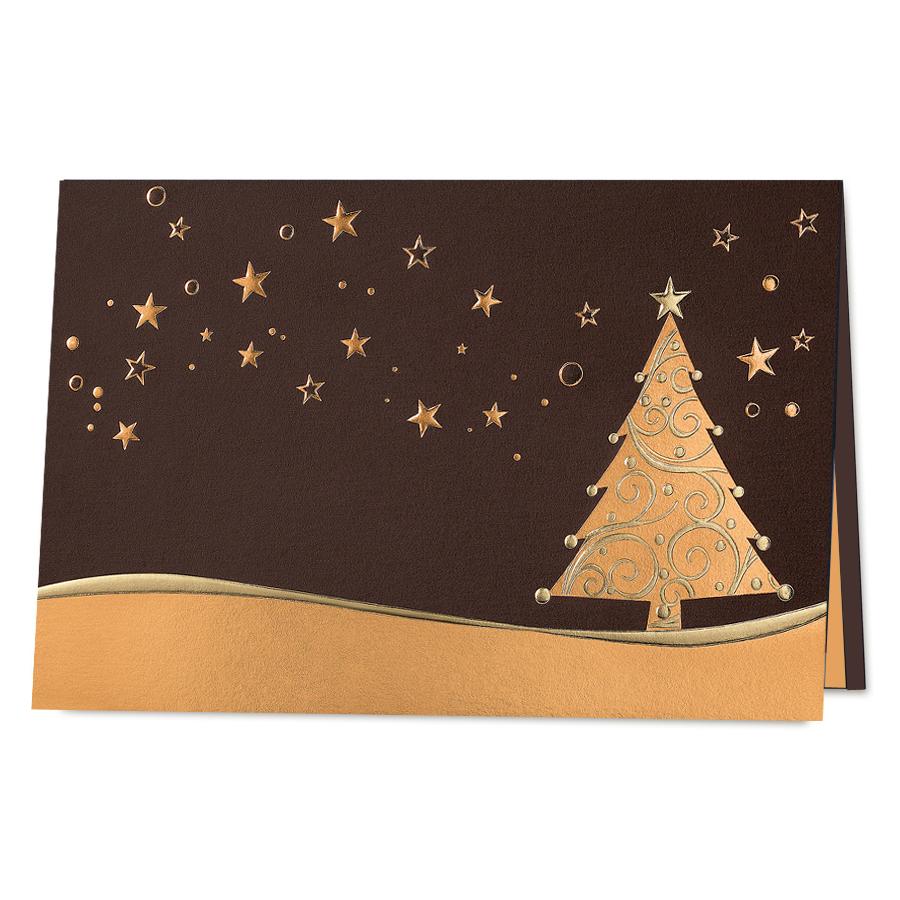 Braune Weihnachtskarten im edlen Design online bestellen