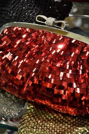 Stand out in ruby red with a great evening clutch.
