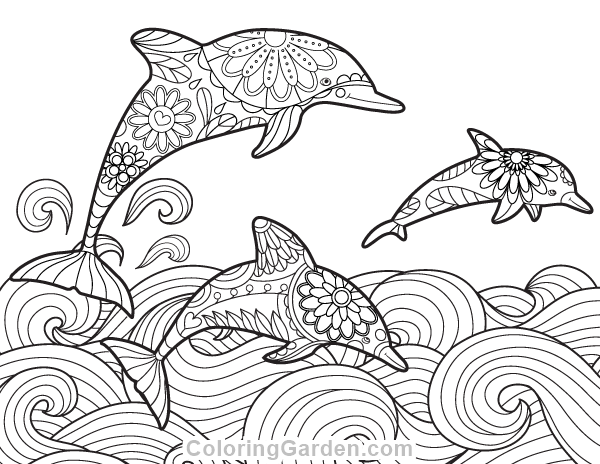 Free printable dolphin adult coloring page. Download it in
