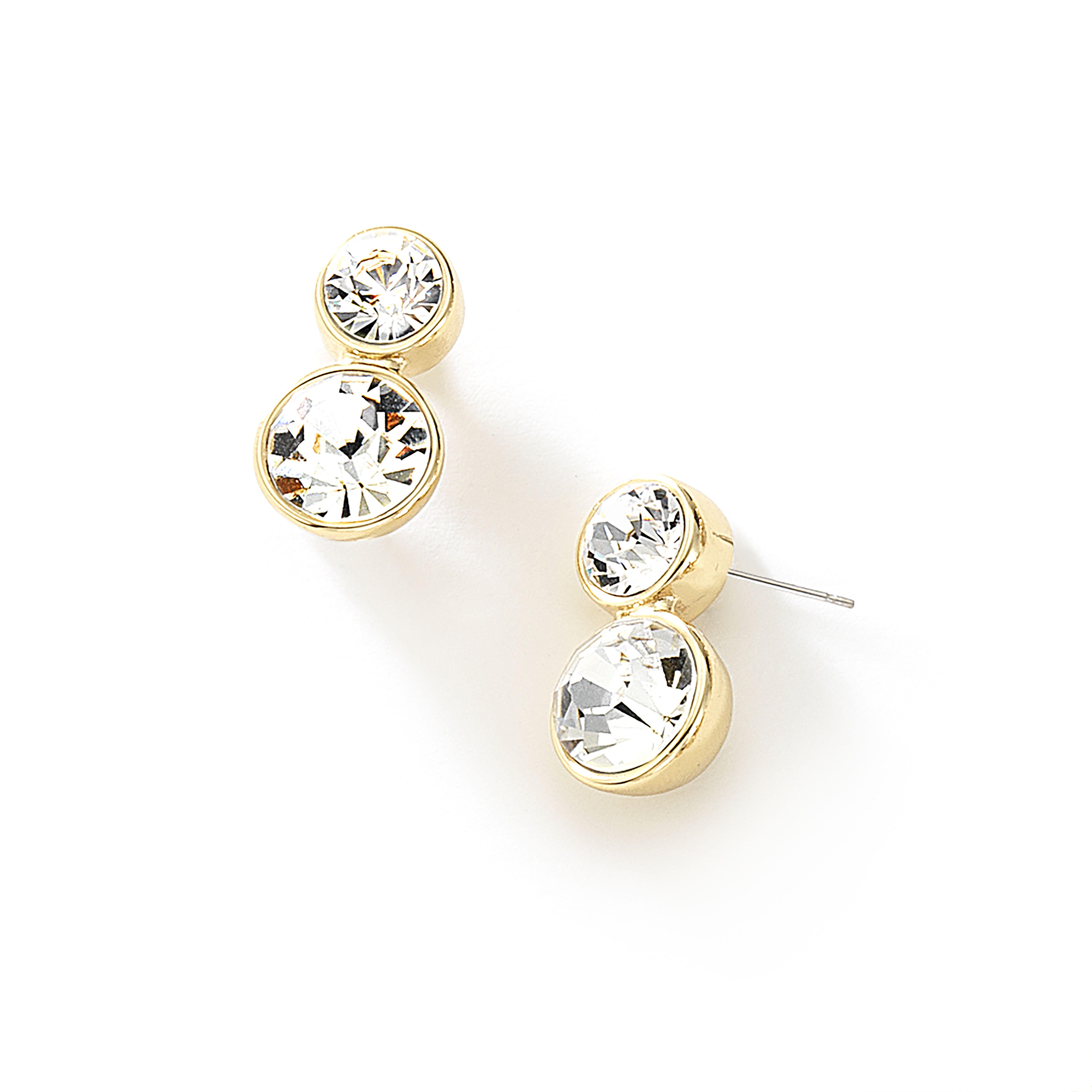 2c8bb12581a3 Arete de broche de poste con hermosas piedras de cristal y 4 baños de oro  de 18 kilates.