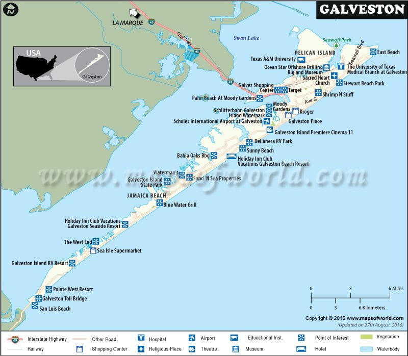 Galveston Map Showing Highways Hotels Airports Attractions