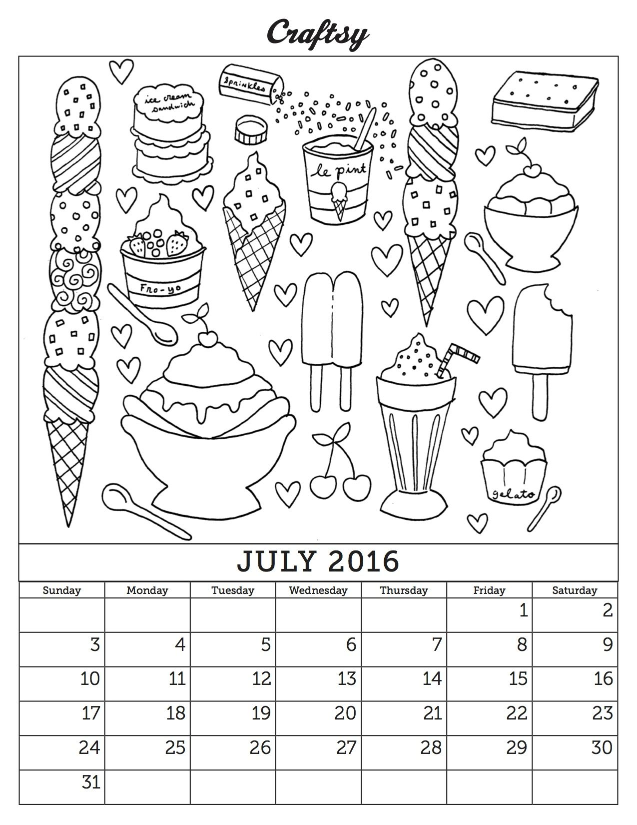 July Coloring Book Calendar Page