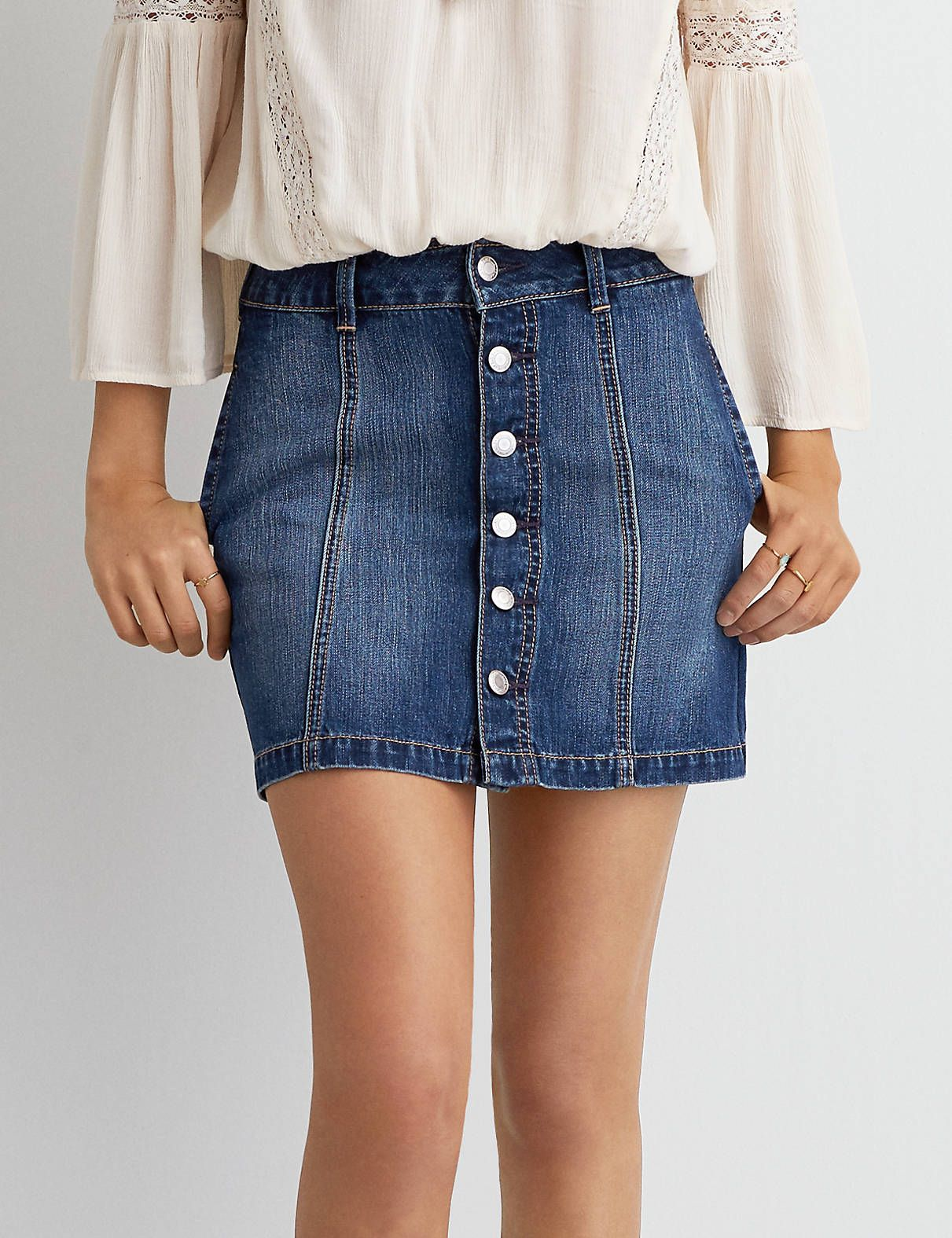 d38a74085 Button Up Jean Skirt American Eagle – DACC