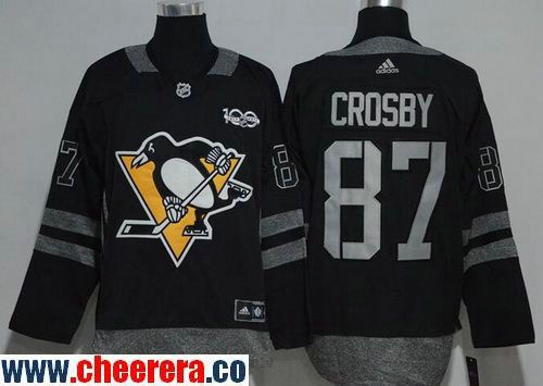 1215eface8b ... Mens Pittsburgh Penguins 87 Sidney Crosby Black 100th Anniversary  Stitched NHL 2017 adidas Hockey Jersey Mens Pittsburgh Penguins 43 Conor  Sheary ...