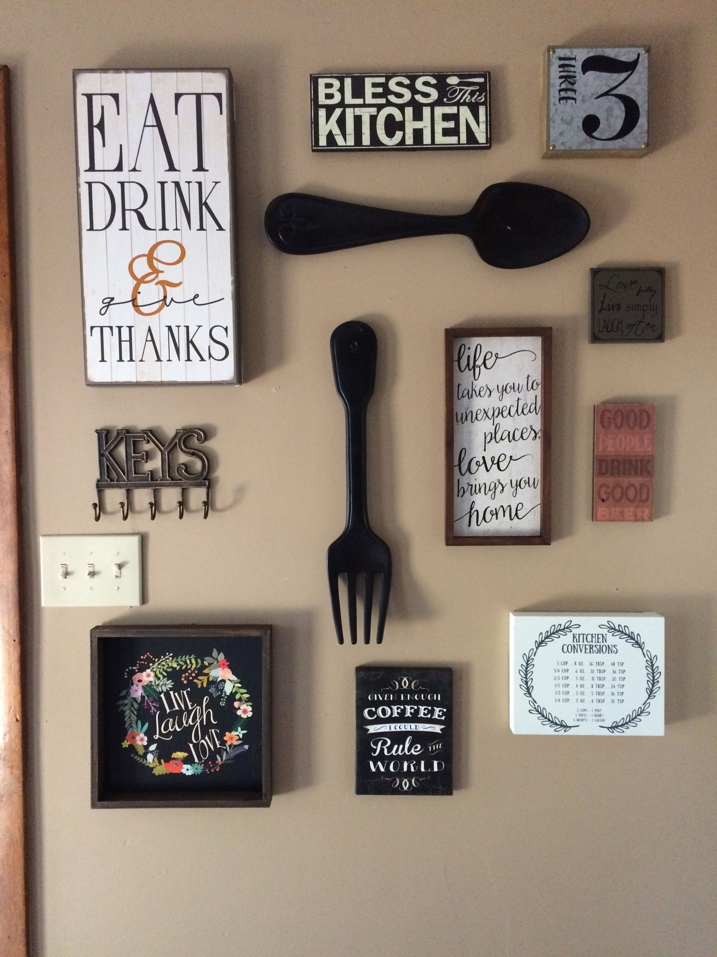 My kitchen gallery wall. All decor from hobby lobby and Ross