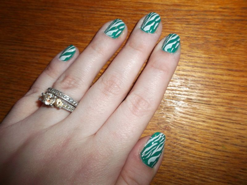 If you want it done right...: White zebra stripes on teal (nail stamping)